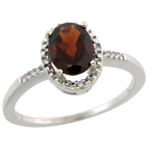 10k White Gold ( 8x6 mm ) Halo Engagement Garnet Ring w/ 0.033 Carat Brilliant Cut Diamonds & 1.05 Carats Oval Cut Stone, 3/8 in. (10mm) wide, size 10