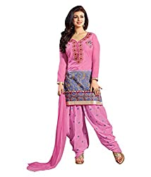 Divisha Fashions Women Dress Material Pink Embroidered Dress Material with dupatta