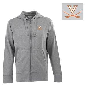 Virginia Signature Full Zip Hooded Sweatshirt (Grey) - Small by Antigua
