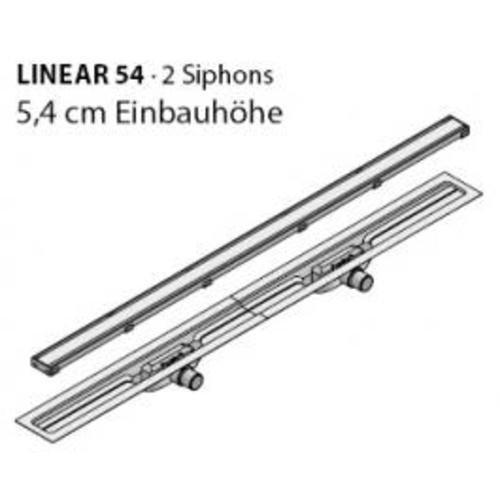 I-DRAIN Drain Linear Länge 120cm Duschrinne 54 mm Einbauhöhe 2 Siphon