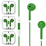 3x Good Quality GREEN Earphone Earbud Earbud Headset with Stereo Volume Control Mic for Apple iPhone 5 5s 4 4s or any devices ( HTC / Samsung ) with 3.5mm Audio Jack