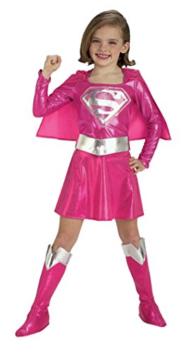 Girls Supergirl Pink Kids Child Fancy Dress Party Halloween Costume