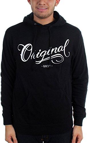 KR3W Mens Los Originales Hoody Pullover Sweatshirt/Sweater, Black, Large