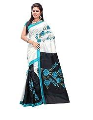 7 Colors Lifestyle White & Black Coloured Bhagalpuri Embroidered Saree