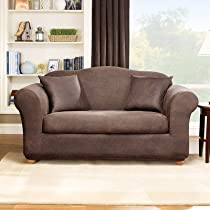 Sure Fit Stretch Leather 2-Piece Loveseat Slipcover, Brown