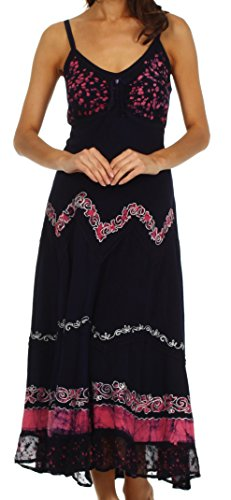 Sakkas 414012 Luna Batik Embroidered Adjustable Spaghetti Strap Dress - Navy / Pink - L/Xl