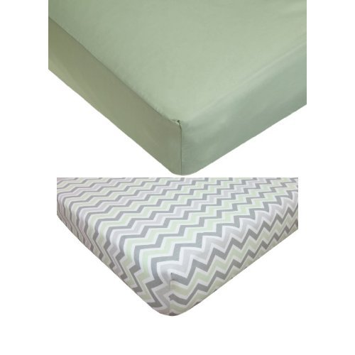 American Baby Company Celery Fitted Crib Sheet Bundle - 1