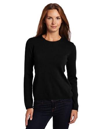 Sofie Women's Long Sleeve 100% Cashmere Crew Neck Sweater, Brown Sugar