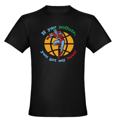 CafePress Capt Planet Pollute Boot Black Men's Fitted T-Shir Men's Fit