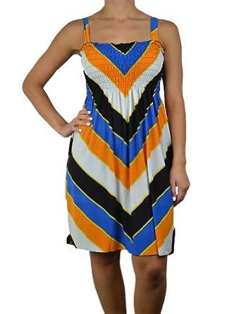 143Fashion Ladies Fashion Sleeveless Dress w/ Abstract Print, Royal Blue/Mustard, Medium