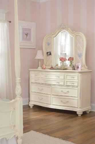 Lea Jessica McClintock Romance 7 Drawer Double Dresser with Antique White Wood Finish