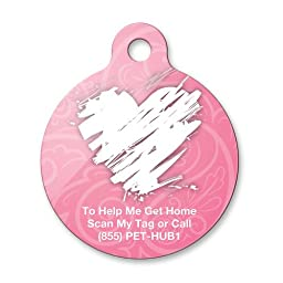 PetHub Scribble Heart Premium Pet Tag, Large