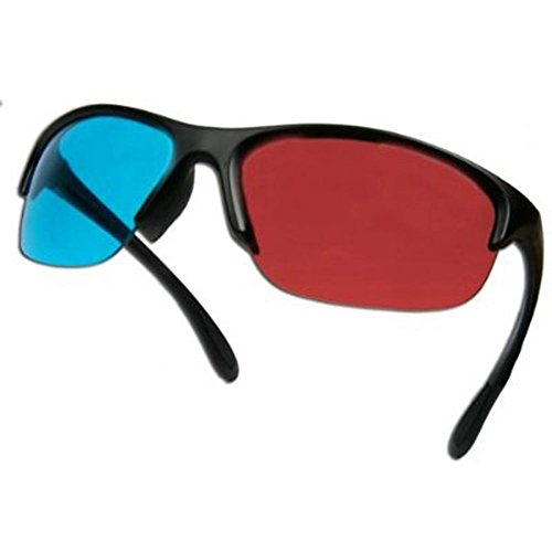 niceeshop(TM) Unisex Resin Frame 3D Glasses Anaglyph Glasses for Movie Game-Red & Cyan