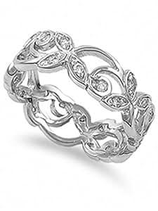 Camilla's Fancy Swirl Design CZ Eternity Ring - None - 6