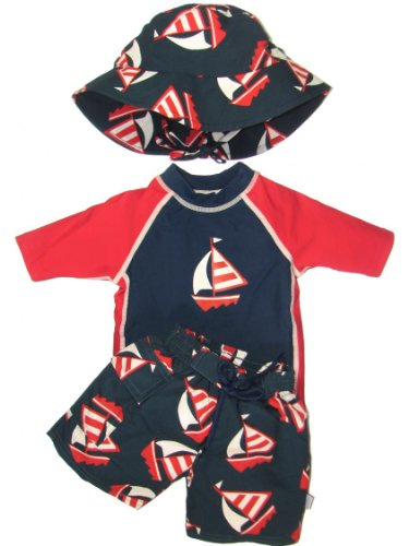 Sailboat 3 Piece Baby Infant Boy Swim Set- No other Diaper Necessary! by Iplay