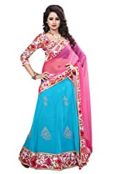 London Beauty Women's SkyBlue Georgette Floral Lehenga Choli