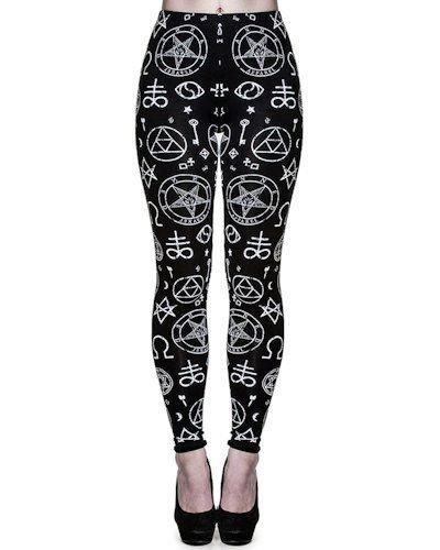 Banned Nero Pentagramma Donna Leggings nero 10