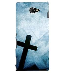 ColourCraft Jesus Cross Design Back Case Cover for SONY XPERIA M2 DUAL D2302