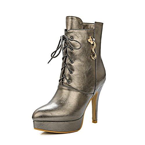 AgooLar Donna Allacciare Tacco A Spillo Tessuto Lucido Puro Stivali con Ornamento Di Metallo, Oro, 36