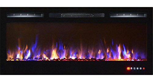 Bombay 36 Inch Crystal Recessed Pertain to Screen Multi-Color Wall Mounted Electric Fireplace