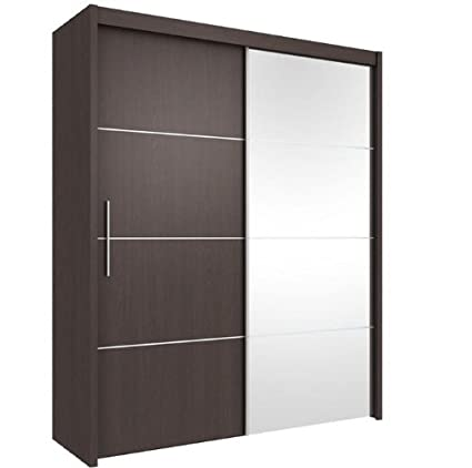 Inova Sliding Door Wardrobe Wenge Dark Brown 120cm - By Furniture Factor