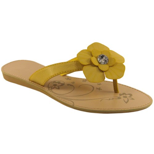 Womens Single Yellow Flower Petal Flat Sandals