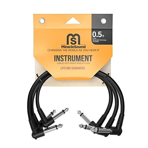 Miracle Sound Guitar Patch Cable for Pedalboard Effects with Right Angle Plug 0.5 Feet 3-pack Ideal Electric Guitar and Bass Livewire Cable (Bullet Shaped Headphones compare prices)