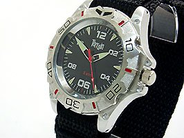 Mens Black Terrain Boardrider Sports Surf Watch-Velcro Strap+Rotating Bezel-50m Water Resitant-1303G