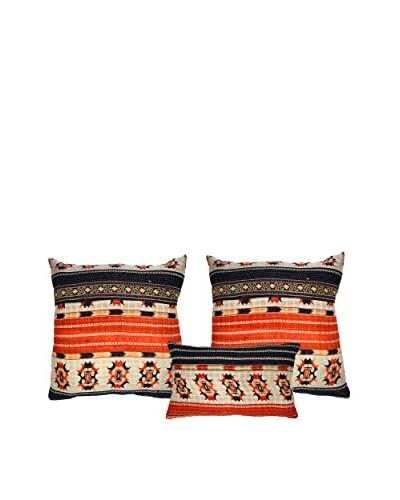 Uptown Down Set of 3 Found Pillows, Orange/Natural