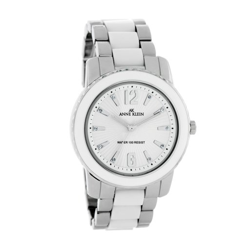 AK Anne Klein Women's 109299WTSV Swarovski Crystals Silver-Tone and White Enamel Accented Watch
