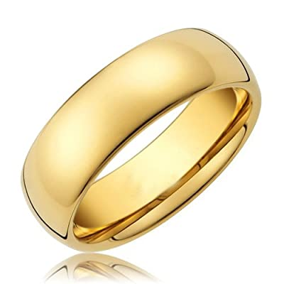 King Will 8mm 24k Gold Plated Domed Tungsten Metal Ring Men's Classic Wedding Band High Polished Finish