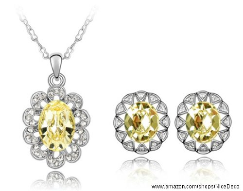 Nicedeco Je-Sw-Tz049-Yellow,Swarovski Elements Austrian Crystal Jewelry Sets,Sunflower,Necklace And Earring(2-Piece Set),Elegant Style And Exquisite Craftsmanship