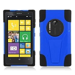 Nokia Lumia 1020 [] AIMO Hybrid Double Layer Heavy Duty Armor Case w/ Built-in Kickstand (Black / Blue)
