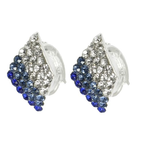 Rosallini Silver Tone Blue Glittery Faux Rhinestone Rhombus Ear Hoop Earrings