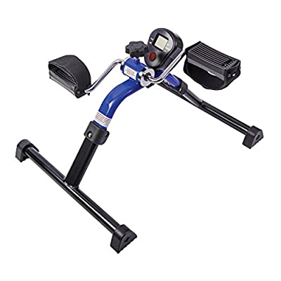 HealthSmart Lightweight Pedal Exerciser with Folding Legs and Digital Monitor Display for Exercising Arms and Legs, Blue