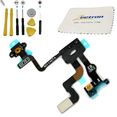 Iphone 4S Proximity Light Sensor Flex Cable Power Button Cable + 6 Piece Opening Tool Kit + Torx Screwdriver + Zeetron Microfiber Cloth (9 Piece Do It Youself Kit)