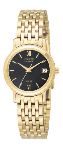 Citizen Quartz Gold Bracelet Black Dial Women's Watch - EU2502-51E