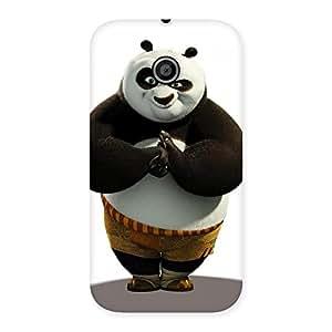 Ajay Enterprises Wowo Punching Panda White Black Back Case Cover for Moto E