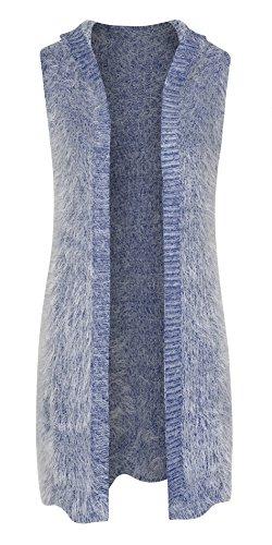 Women's Shaggy Faux Fur Hooded Sleeveless Cardigan Vest