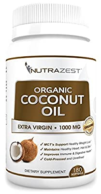 Nutrazest Extra Virgin Organic Coconut Oil Capsules - 1000mg with MCTs to Promote Healthy Weight Loss, Boost Digestion, Natural Immunity & Hair, Skin, Nails Health - 100% Cold Pressed 180 Softgels