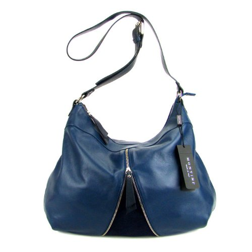 MONTINI Italian Blue Leather Crossbody Shoulder Bag with Zipper
