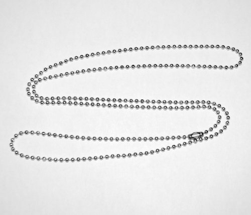 30 In. Stainless Steel Necklace, Military Dog Tag Ball Chain, 2.4mm #3 bead