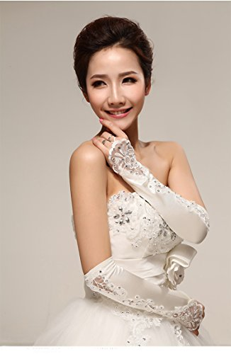 White Flowers Bridal Gloves Fingerless Satin Lace Pearl Wedding Party Prom (White)