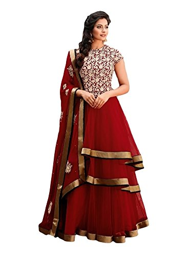PinkShink Long Red Partywear Anarkali Dres Material