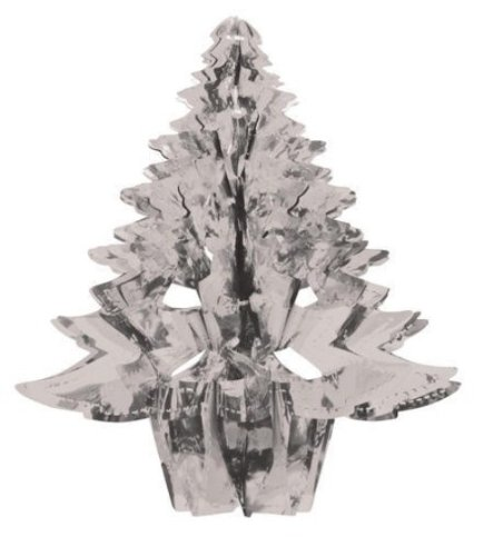 "Creative Converting Glitz Silver Hanging Décor 16"" Dimensional Christmas Tree - 1"