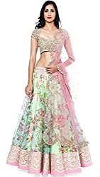 Sky Global Women's Georgette Lehenga Choli (SKY_Lehnga_117_White & Pink_Free Size)