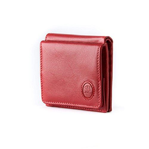 Portafoglio uomo piccolo in Pelle con Portamonete e Porta carte di credito di Nuvola Pelle Rosso