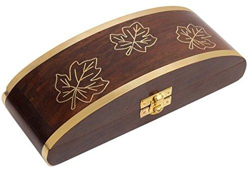 Cyber Monday Decorative Wooden Long Jewelry Box Keepsake Storage Organizer With Fine Brass Inlay