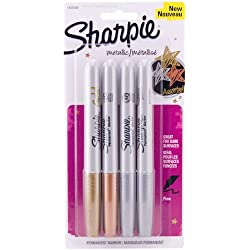 Sharpie - Fine Point Metallic Permanent Markers - Silver/Gold/Bronze (1-Pack of 4)