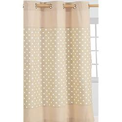Homescapes Vorhang Kinderzimmer Ösenvorhang Kindervorhang Stars 2er Set beige 137 x 228 cm (Breite x Länge je Vorhang) 100% reine Baumwolle